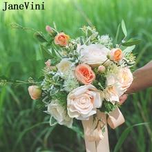 JaneVini Vintage De boda, ramos De novia Bohemia flores artificiales rosas De seda verano falso ramo Buque De novia 2019