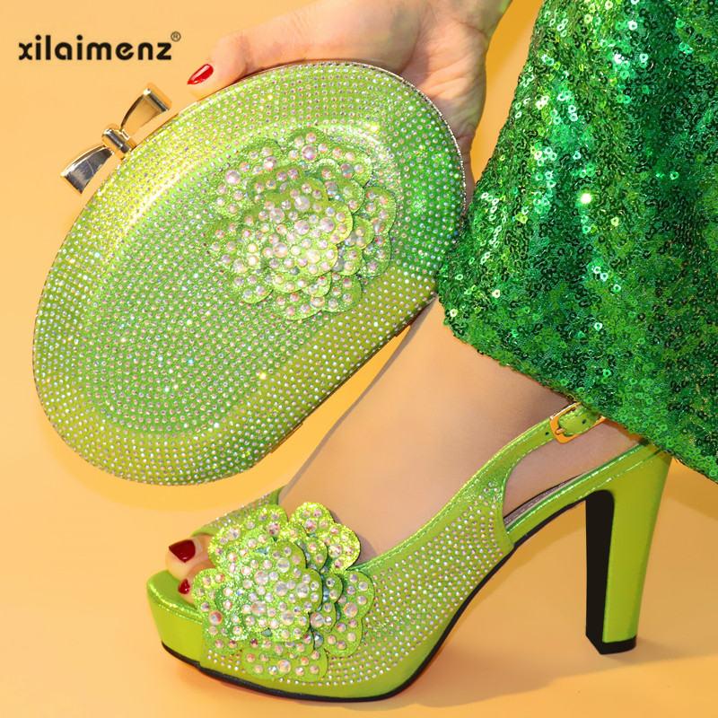 Ensemble champagne Soirée Assortis Et Sac purple silver Africain Chaussures Italien Couleur green 2019 Chaussure fuchsia Nigérian Sacs Femmes Avec De Black Vert Les wxqYIHPA