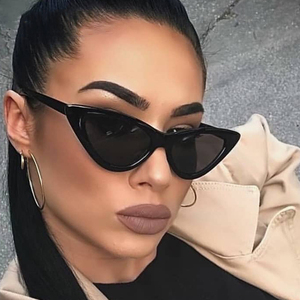 Sexy Cat Eye Sunglasses Women Brand Designer Mirror Black Triangle Sun Glasses Female Lens Shades for Ladies Eyewear UV400(China)