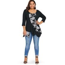 Plus Size Floral Cotton Loose Top for Women