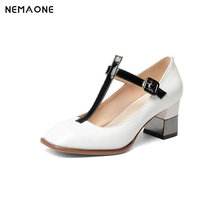 NEMAONE Women Genuine Leather T-strap Pumps Square Heeled Elegant Wedding Party Shoes Woman square Toe Office Pumps