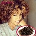7а необработанные девы волос бразильский Kinky Вьющиеся 4pcs100g за шт Светло-Коричневый цвет дешевые человеческих волос Бразильский Вьющиеся Волосы Девственницы