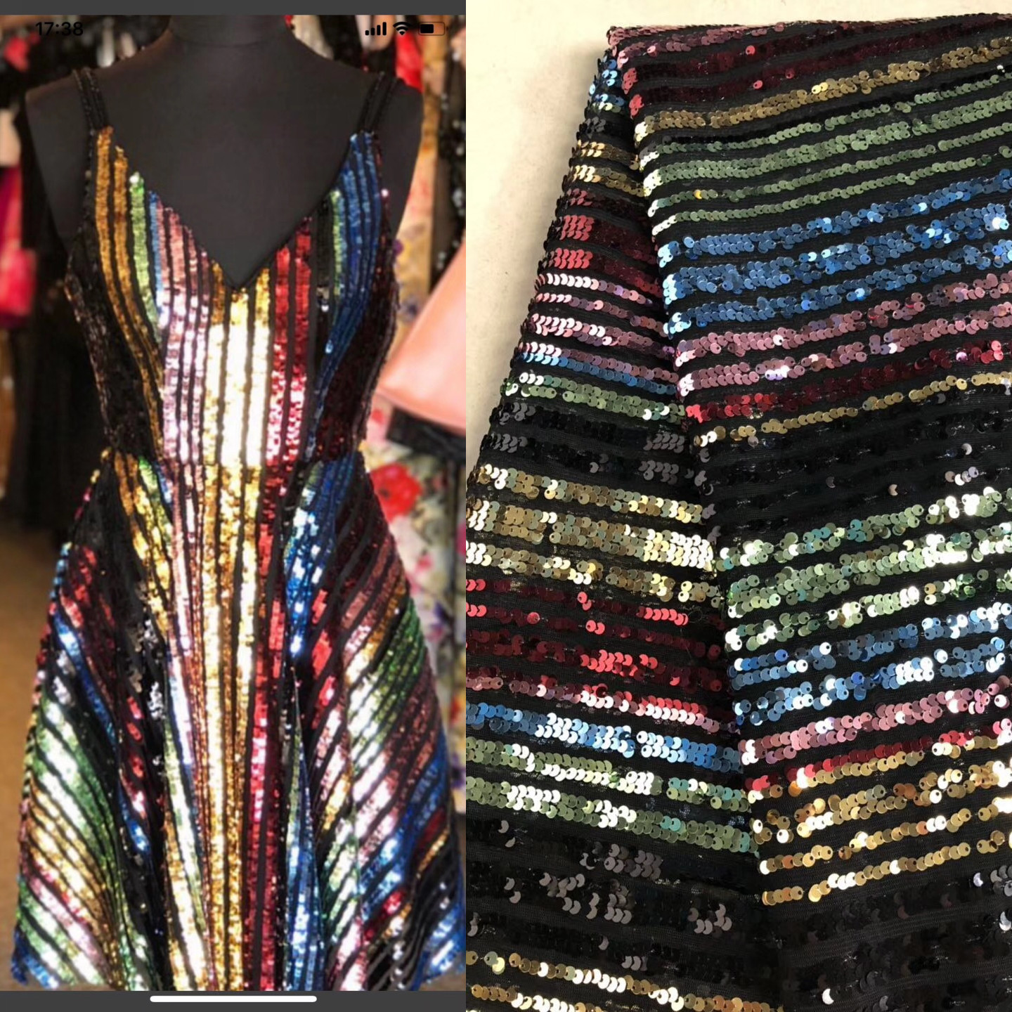 Heavy Duty Laminated Color Stripe Sequins Fabric Women Dress Material Mesh Gauze Glitter Textile Sewing Fabric