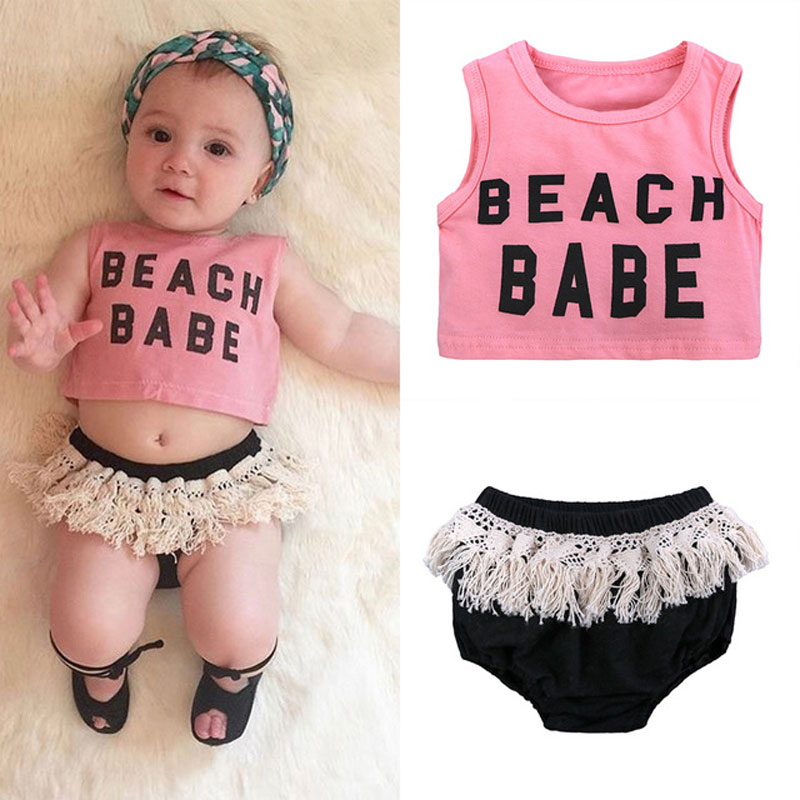 Summer Newborn Baby Girl Clothes Set Top Baby Girl Outfit Cotton Infant Clothing Sleeveless Vest+Shorts 2pcs Children Clothes
