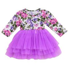 adorable Kids Baby Girl New Year Dress floral print Wedding Party Gown  clothes long sleeve purple Tulle Tutu Princess Dress 2018 2790e453278a