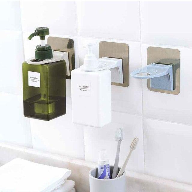 Plastic Shampoo Shower Gel Bottle Holder With Sticker Wall Mounted Stand Hanging Hook Shelves Hanger Bathroom