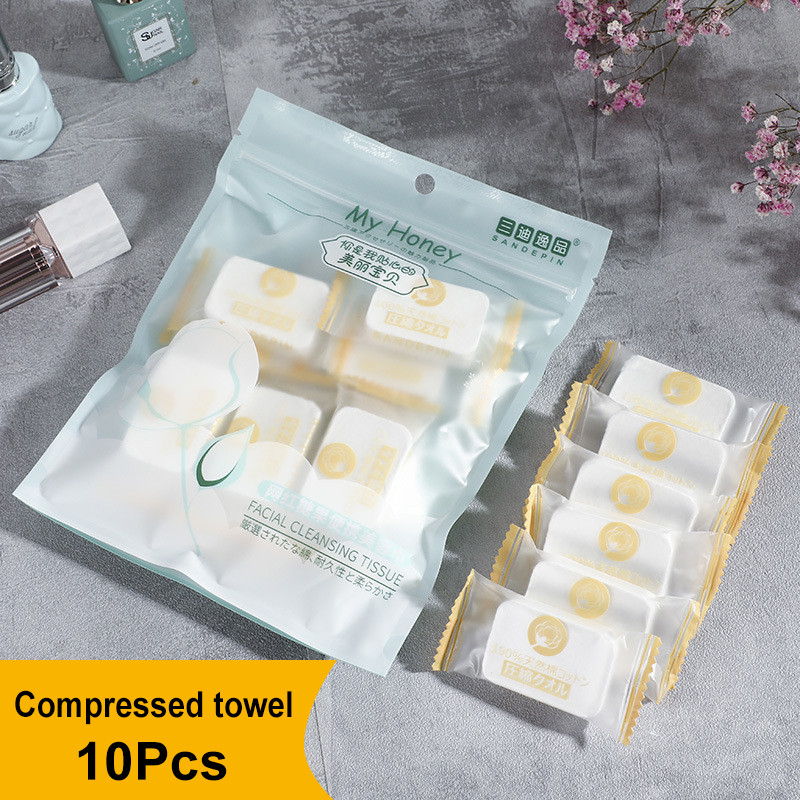 10Pcs Disposable Compressed Towels Portable Face Washcloth Camping Travel Compact Lightweight Yet Very Durable Absorbent Clean