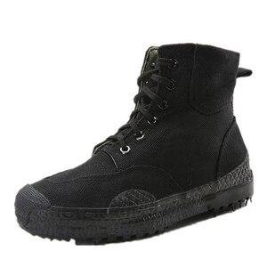 Image 3 - 2019 moda męska Casual buty kamuflażowe męskie zabezpieczenie w pracy wyzwolenie gumowe buty dżungla płótno wysokie buty treningowe