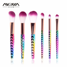 New Arrival ANGNYA 6Pcs Makeup Brushes Fantasy Eyeshadow Lip Blush Foundation Powder Gradient color Makeup Brush Set 2017
