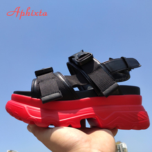 Aphixta 2019 Platform Sandals Women Shoes Red Thick Soled Wedge Heels Shoe Leather Buckle Beach Slides Woman