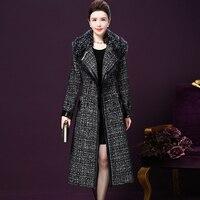 Весна осень зима пальто Для женщин с лацканами карман полушерстяные пальто с большой меховой воротник длинный плащ пальто Верхняя одежда Ш