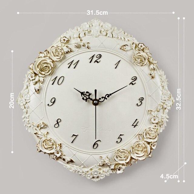 Horloge murale en résine artisanale fleur de Rose   Décorative européenne, horloge murale numérique, pour chambre calme, décoration de Restaurant hôtel