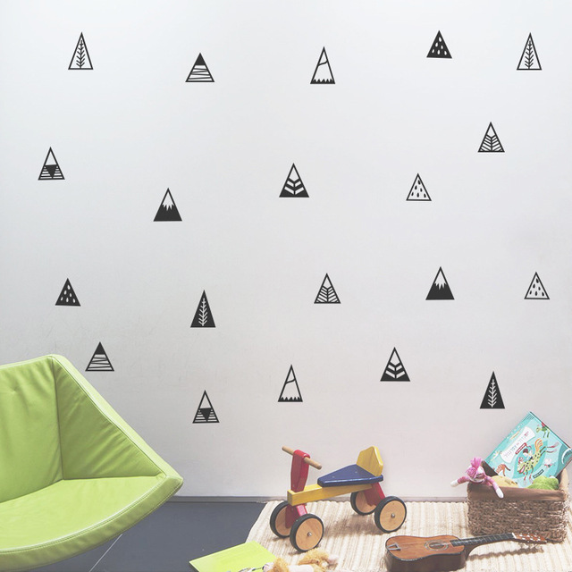 Simple Trigon Shape Wall Sticker For Christmas Party Decoration Baby Room Home Decor Mural