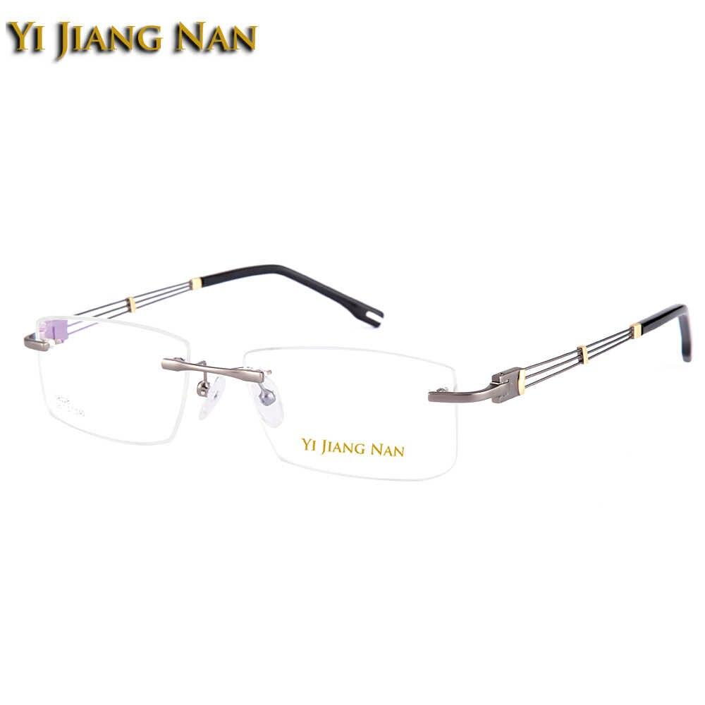Gafas de marca Yi Jiang Nan, gafas de aleación sin montura, gafas de estilo de negocios de moda, gafas sin marco para hombre