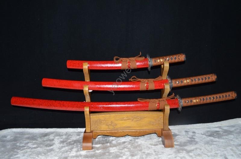 High Quality Full Tang Samurai Japanese Katana Sword Set3 Katana Wakizashi Tanto 1060 High Carbon Steel Hand Forged Battle Ready
