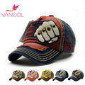 Vancol  Unisex Snapback Bone Cotton Baseball Caps Summer Hat Outdoor Ripped Skull Letter Sport Rock Rivet Cap
