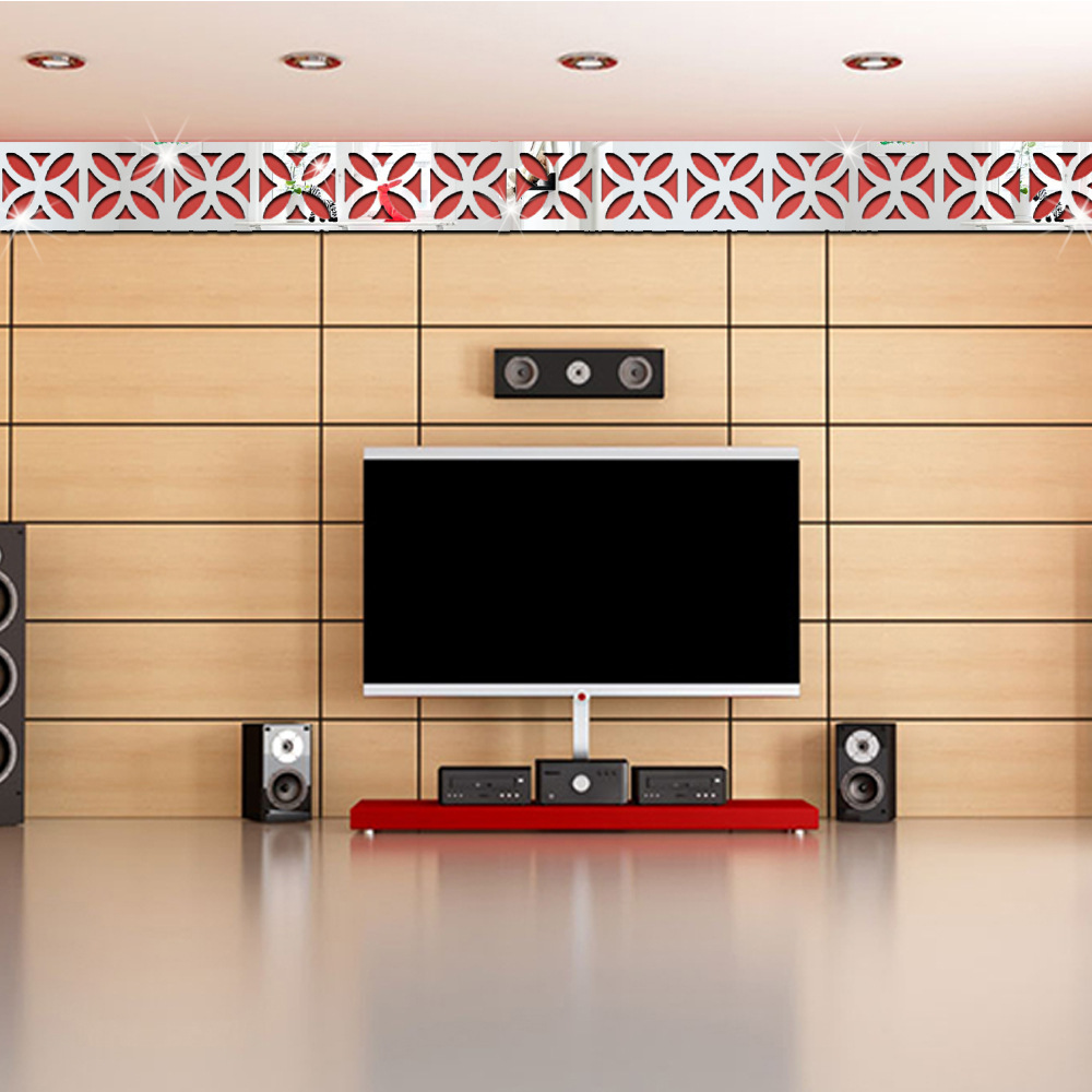 5pcs New 3d Mirror Diy Removable Wallpaper Skirting Line Wall
