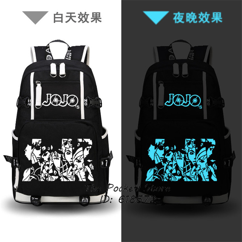 Anime JoJo s Bizarre Adventure Printing Backpack Jonathan Joestar Cos Anime School Bags Canvas Travel Bags
