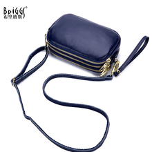 цена на BRIGGS Women Shoulder Bags Ladies Solid Messenger Bag Female Small Handbag Genuine Leather Small Flap Crossbody Bag Day Clutches