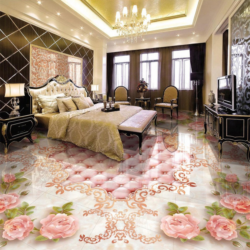 European Style Rose Soft Pack Marble Floor Tile Painting Mural Hotel Living Room Luxury PVC Self