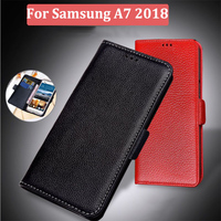 Genuine Leather Case For Samsung GALAXY A7 2018 Wallet Style Flip Stand Phone A7 2018 Back Cover Coque A750F A730X Cases shell
