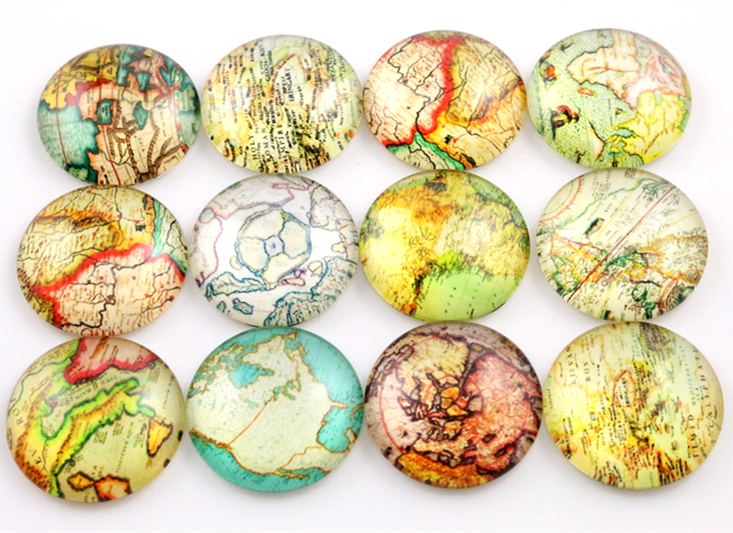 Hot Sale 10pcs 25mm New Fashion Mixed Word Map Handmade Photo Glass Cabochons Pattern Domed Jewelry Accessories Supplies-C7-53
