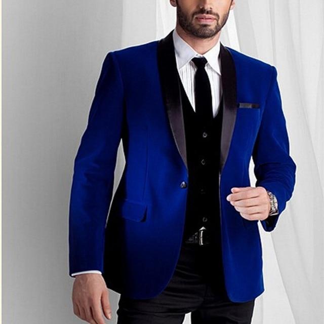 Custom Made Groomsmen Black Lapel Groom Tuxedos Velvet Men Suits Wedding Best Royal Blue Blazer Suit