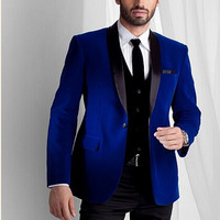 Custom Made Groomsmen Black Lapel Groom Tuxedos Velvet Men Suits Wedding Best royal blue Blazer suit 2017(Jacket+Pants+Tie+Vest)