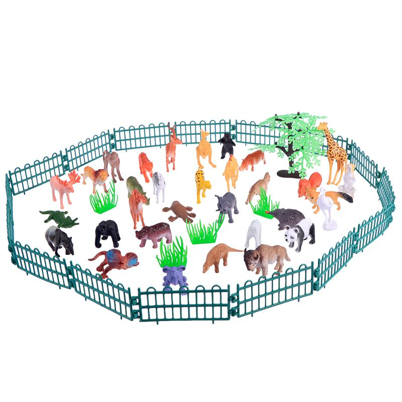 Animal-Figure Toddlers Models Mini 32pcs for Kid Fence Wild