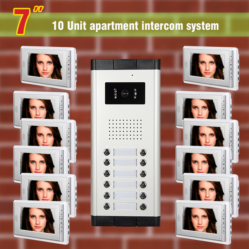 12 units Apartment Video Intercom System 7 Inch Monitor Video Door Phone doorbell kit for apartment visaul intercom entry system apartment intercom system 7 inch monitor 6 units apartment video door phone intercom system video intercom doorbell kit