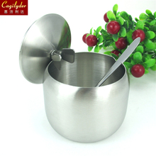 stainless steel seasoning box pot spice jar sugar bottle with spoon lid durable kitchenware household BBQ Christmas Gifts