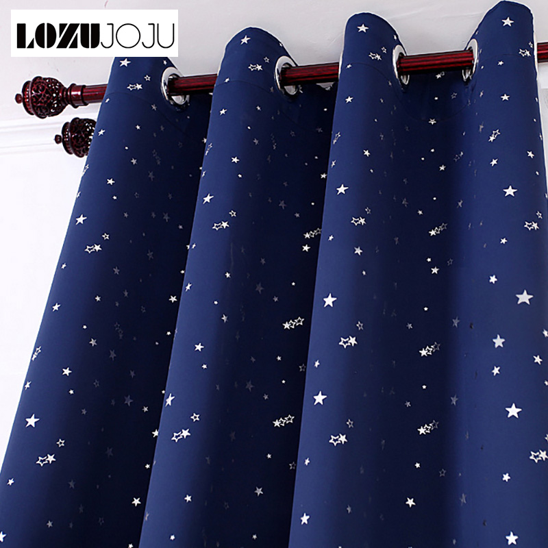 Blue High Shading Blackout Curtain Short Navy Star Design Curtains Draper For Child Kids Bedroom Window Panel