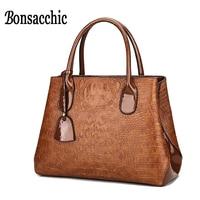 Bonsacchic Brown Women's Crocodile Handbags Boxes Embossed Woman Bag Leather Handbags Ladies Bags Sale bolsas de couro feminina