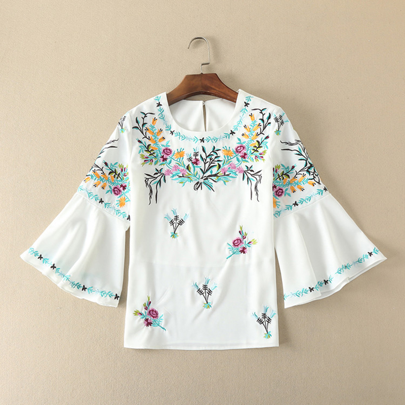 2017 New Arrival Eleagnt 2 Pieces Flare Sleeve White Tops + Flowers ...