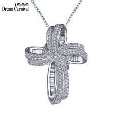 DreamCarnival 1989 Trendy Cross Bowknot Pendant Necklace Link Chain Amazing Price Zircon Fashion Jewelry Christmas Gift SZ12599(China)