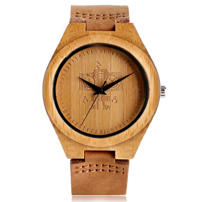 Robot Design Nature Wooden Bamboo Watches with Brown Leather Band Light Hand-made Wristwatch for Men Women Gift