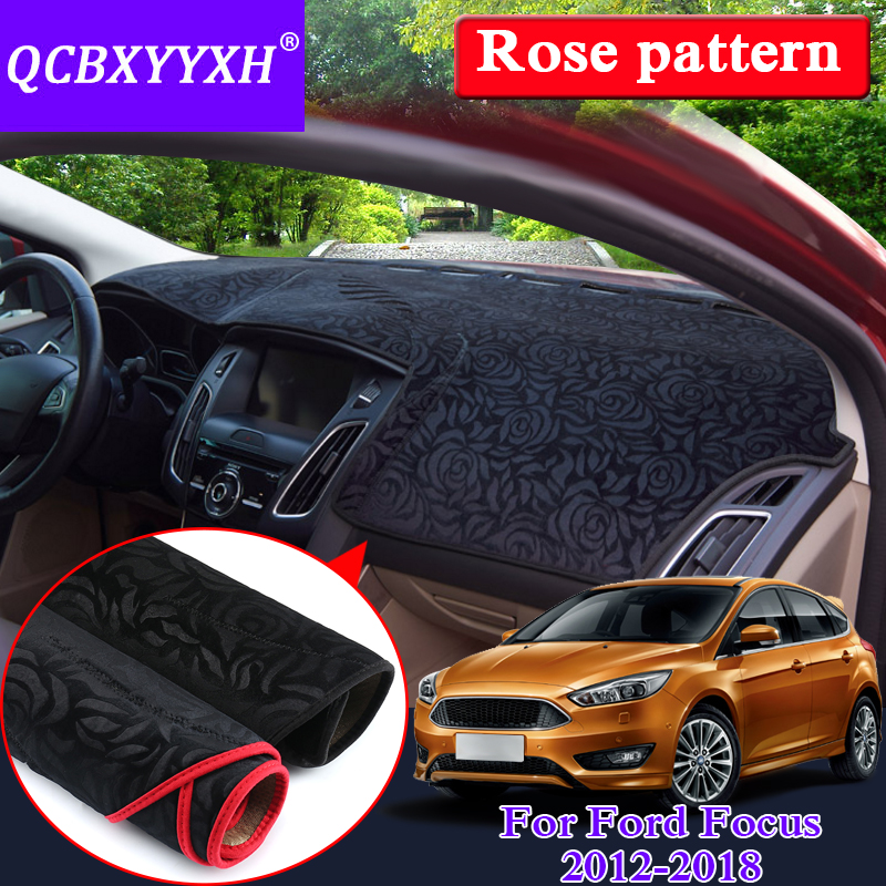 Tapis anti-dérapant de style de voiture pour Ford Classic Focus 2007-2018 RHD & LHD Rose motif tableau de bord tapis de protection coussin d'ombre