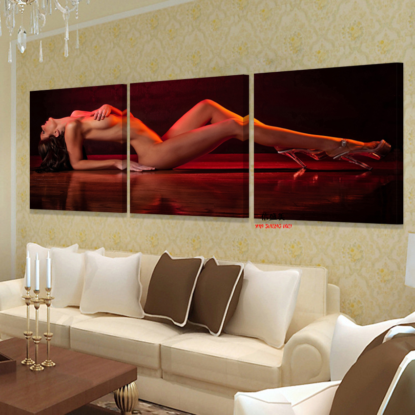 3 Piece Wall For Bedroom Living Room Beauty Nude Pictures Hd Print In Canvas Art Oil -7343