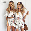 ORMELL Off Shoulder Floral Print Jumpsuit Romper Women Sexy High Waist Summer Beach Playsuit Boho Tassel