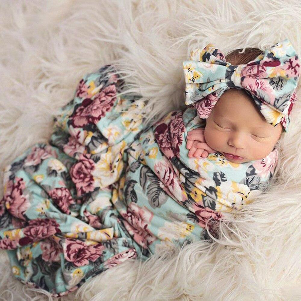 Newborn-Baby-Boy-Girl-Infant-Floral-Swaddle-Wrap-Headband-Swaddling-Blanket-Muslin-Floral-Print-Baby-Sleeping