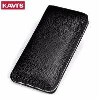 KAVIS 2017 Famous Brand Men Leather Purse Men S Clutch Wallets Long Large Capacity Business Mens