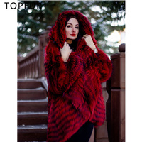 TOPFUR плюс Размеры роскошный красный Natrual Silver Fox Меховая куртка с отложным воротником Для женщин однотонное пальто с мехом пончо модная свобод