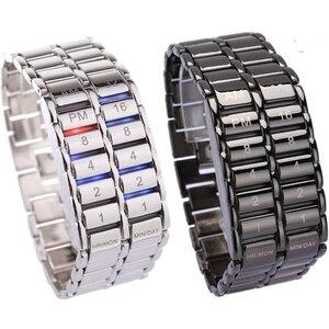 Image 1 - Neue Mode Digitale Uhr Coole Vulkanischen Lava Stil Eisen Faceless Binary LED Handgelenk Uhren für Männer Schwarz/Silber