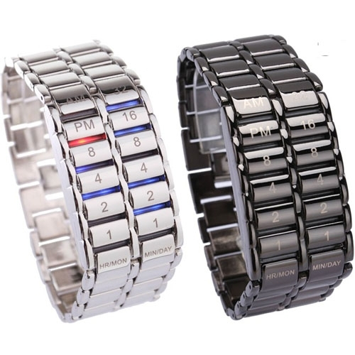 Neue Mode Digitale Uhr Coole Vulkanischen Lava Stil Eisen Faceless Binary LED Handgelenk Uhren für Männer Schwarz/Silber