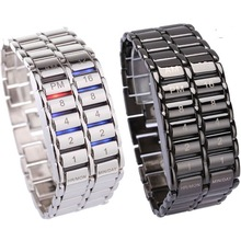New Lava Style Iron Faceless Binära LED Armbandsur för Man Black / Silver Chinabestmall