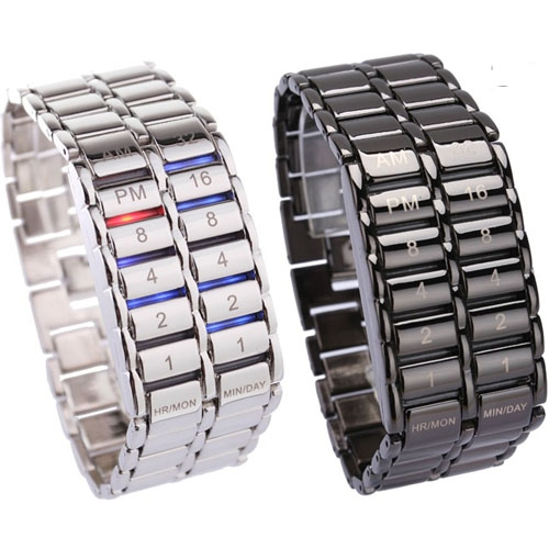 New Fashion Digital Watch Cool Volcanic Lava Style Iron Faceless Binary LED Wrist Watches for Men Black / SilverNew Fashion Digital Watch Cool Volcanic Lava Style Iron Faceless Binary LED Wrist Watches for Men Black / Silver