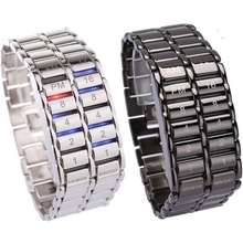 New Fashion Digital Watch Cool Volcanic Lava Style Iron Faceless Binary LED Wrist Watches for Men Black / Silver