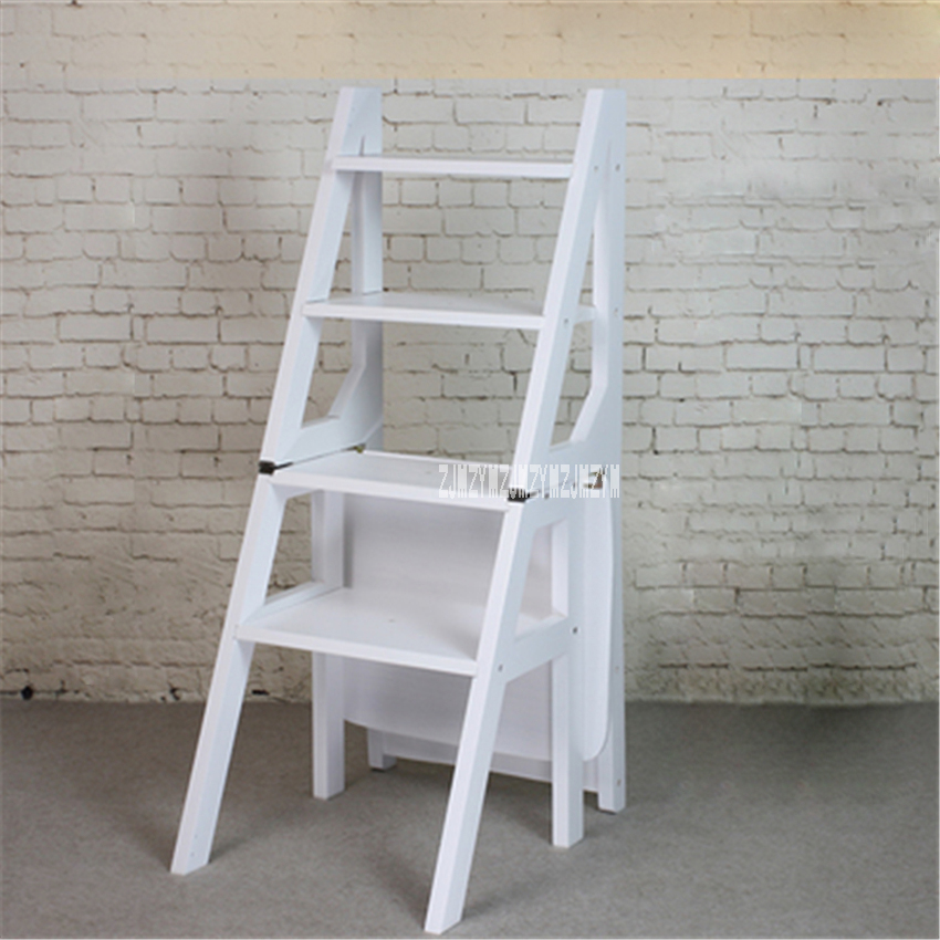 Multi-functional Four-Step Library Ladder Stool Solid Wood Ladder Chair Household Folding Wooden Chair Step Ladder Dining Chair