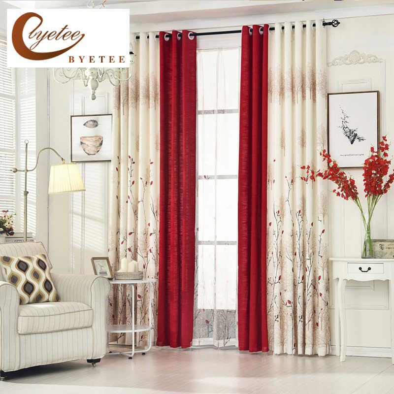 [byetee] Living Room Red Curtain Bedroom Curtain Garden Warm Cotton Finished Fabrics Linen Curtains Simple Pastoral Custom