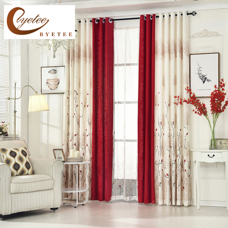 US $10.8 40% OFF|[byetee] Living Room Red Curtain Bedroom Curtain Garden  Warm Cotton Finished Fabrics Linen Curtains Simple Pastoral Custom-in ...